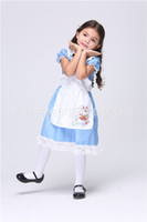 Teenage alice beauty - Theme Costume Children Cosplay Halloween Cartoon Polyeter Blue Beautiful Individual Character Fashion Children Alice in wonderland Maid