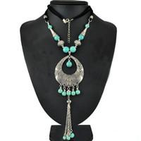 al por mayor collar de perlas largo de la vendimia-Joyería gitana manera de las mujeres de Bohemia de plata del verde turquesa con cuentas borla larga Collares