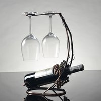 barware storage - Vintage Wine Holder Grape Vine Metal Wine Rack Glass Cups Hanging Holder Hanger Table Support Organizer Storage Display Barware