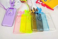 adorable rabbits - Adorable D Bunny Rabbit Ears Stand Transparent Soft TPU Case Cover for iPhone inch Transparent Cord for Belt Free DHL MOQ