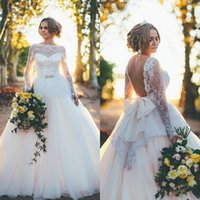 victorian dress - 2015 Arabic Victorian Dresses A Line Bridal Gowns Illusion Bateau Neck Long Sleeves Backless Bridal Gowns with Big Bow Custom Made