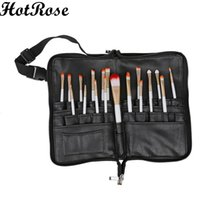 Wholesale HotRose Pro Pockets Cosmetic Makeup Brush Apron Bags Artist Belt Strap Holder Christams Makeup Brush PU Leather Storage Bag
