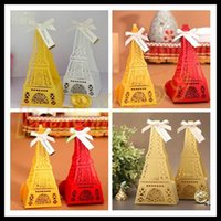 Wholesale Eiffel Tower wedding day hollow wedding candy box marriage charm shower favor candy boxes wedding party gift hold bag with ribbon