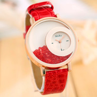 auto plastic beauty - Roll bead watch women new style casual beauty wristwatch relogio feminino leather strap diamond watches student christmas gifts