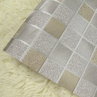 beige wall tiles - Waterproof PVC vinyl Wall Sticker Beige Wallpapers Glitter Wall paper Mosaic Tile For Kitchen Bedroom Living Room Wallpaper Roll