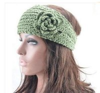 Girl Winter Crochet Hats Women Crochet Headband Knit hairband Flower Winter Ear Warmer Headwrap 50pcs lot free shipping