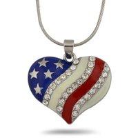 amrican flag - heart shape Amrican flag enamel necklace