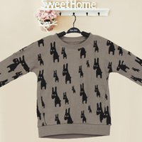 Wholesale Baby Boys Sweater Fashion Casual Cartoon Deer Printed Long Sleeve Round Collar T Shirt