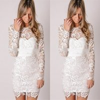 Cheap Little White Prom Gown Lace Long Sleeve Sheath Crew Cocktail Party Dresses Mini Sexy Bridal Wedding Homecoming Gowns 2014 Cheap WJ100907