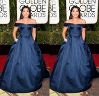 Wholesale 2016 Celebrity Red Carpet Dresses rd Golden Globe Awards Gina Rodriguez Satin Long Off Shoulder Navy Blue Formal Evening Gowns Prom Dress