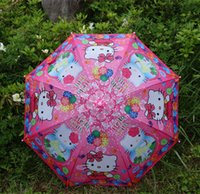 Wholesale EMS Children kitty cat Cartoon cm Umbrella Children Straight Shank Self openin umbrella children kitty cat umbrellas shading MOQ