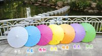 Wholesale Hot Wedding Parasols Paper Parasol Sun Umbrellas Bridal Accessories Handmade Diameter Solid Color Paper Umbrella Sunshade