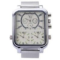 Cheap V6 9 hands Three Time Show Movements Square Dial Metal Case Wrist Watch with Stainless Steel Band for Women Men
