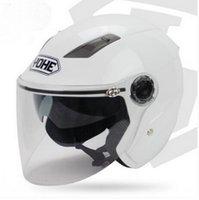 achat en gros de yohe l taille casque-Yohe double lentille hiver moitié du visage casque de moto Eternal vélo électrique casque moto casque YH837A TAILLE ML XL XXL 7 couleurs
