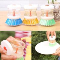 dish detergent - Kitchen Cleaning Brush With Detergent Liqiud Container Wash Dish Bowl Pot Scrubber Cleaner