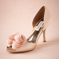 Cheap Pale Pink Satin Wedding Shoes Slip Ons Wraped Heels Handmade Bridal Shoes Pumps Silk Rose Upper Suede Leather Summer Party Dance Women Shoes