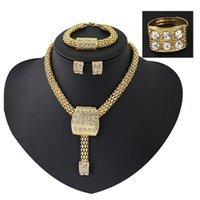big crystal necklaces - Africa style statement necklace earrings necklace sets bracelet necklaces exaggeration wedding jewelry sets ring earrings sets big chain