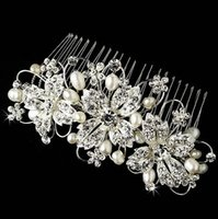 Wholesale New Coming High Quality Floral Pearl Crystal Comb Crown Tiara Bridal Headpiece Wedding Hair Accessories Ready to Ship