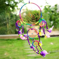 Wholesale Hot Sales Handmade Pendants Dream Catcher Wall Hanging Decoration Ornament Feathers Novelty Items Dia CM Length CM JI6