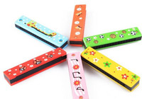 Wholesale Wooden Harmonica Kids Musical Instrument Educational Craft Toy Fully Function Mixed Colors DHL Free
