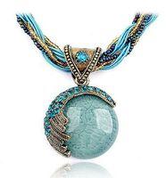 cat charms - Bohemian National Gemstone Short Collar Chokers Statement Bib Necklace Luxury Cat Eye Rhinestones