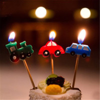 Wholesale 3Pcs XMAS Party Birthday Cup Cake Candles Decoration Car Green Train Truck Smokeless Topper Enclosed Wooden Toothpick