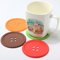 Wholesale 5Pcs Cute Silicone Round Button Coaster Home Table Decor Coffee Drink Placemat Cup Mat Pad Hot Sale