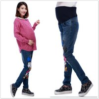 Wholesale Pregnancy Clothes cartoon pattern Fall and winter clothes new Korean maternity fashion maternity jeans pants MP008