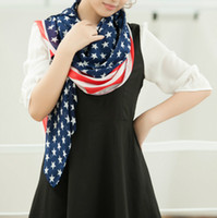american flag banner vintage - Hot Chiffon Printing American Flag Scarf USA infinity Scarves Cute star bangled banner loop Red and Blue star Scarf Vintage For Women Wraps