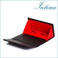Wholesale High Quality Leather Cufflinks box Cuff Box Jewelry Carrying Case Jewelry Packaging Display inch
