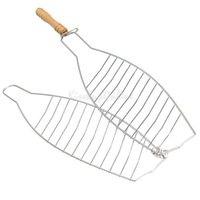 barbecue fish basket - BBQ Barbecue One Fish Grilling Basket Folder Tool Roast with Wooden Handle K5BO