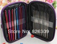 Wholesale DHL sets set Aluminum Crochet Hooks Needles Knit Weave Stitches Knitting Craft Casepnm1