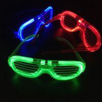 Wholesale Christmas LED Glasses Flashing Shutters Shape Glasses LED Flash Glasses Sunglasses Dances Party Supplies Festival Decoration