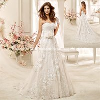 abiti belt - Economici Nicole Spose Abiti da sposa Winter New Spring Lace Wedding Dresses Cheap Floral Belt Sweetheart Bridal Gowns Plus Size