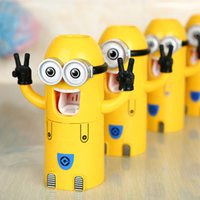 automatic cup dispenser - 100PCS In Stock Cute Despicable Me Minions Design Set Cartoon Toothbrush Holder Automatic Toothpaste Dispenser with Brush Cup