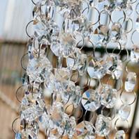 al por mayor cristal octogonal-30M / 99ft / roll14mm acrílico octogonal con cuentas de cristal guirnalda hebras claras para la decoración de la boda de la lámpara del envío libre