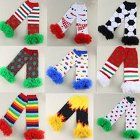 ruffle socks - Halloween Christmas Santa ruffled Baby Leg Warmer child socks Legging Tights Baby Leg Warmers can choose color pairs n599