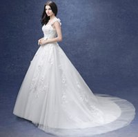 Cheap Wholesale New Arrival Hot Sale Fashion Sweety Royal Palace Luxurious Applique Gown Lace Flowers Bow Real Image Noble Bride Wedding Dress