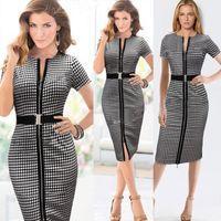 Wholesale Work Dresses Checked dress round collar short sleeve European style dress The waist pencil skirt casual dresses