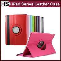 Wholesale Rotating PU Stand Leather Case For iPad Air Mini Retina Smart Sleep and Wakeup Function Lichee Cover