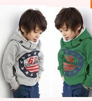 Wholesale Children Boys New Winter Long Sleeve Outwear Leisurre With Hooded Warm Pattern Stars Top Quality Cotton Coat