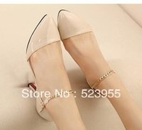 Cheap Wholesale-New arrival brand name designers women's shoes pointed toe single shoes middle heels sandal shoes red bottom cheap free shipping
