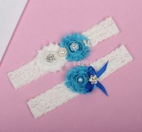 beach garters - 2015 Spring And Summer Flower Lace Bridal Garters For Beach Weddings Blue Purple Wedding Garter