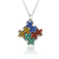 South American autism jewelry - 30pcs Zinc Alloy Antique Silver Plated Crystal Puzzle Piece Infantile Autism Pendant Sports Necklace Jewelry Women