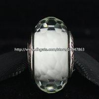 Cheap 5pcs 925 Sterling Silver Thread White Fascinating Faceted Murano Glass Beads Fit European Style Pandora Charm Jewelry Bracelets & Necklaces