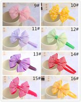 plastic wrap - 50pcs Baby Girls inch Grosgrain Dot Ribbon Bows Headbands Kids Wrapped Ribbon Bowknot Plastic Headbands Hair Band Baby Hair Accessories