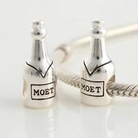 achat en gros de faire 925 bracelet en argent-Argent 925 Diapositive Perles charme bricolage Bijoux Moet Champagnes européenne Faire compatible avec pandora Bracelets Colliers