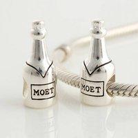 al por mayor pulseras de plata encantos de la diapositiva-Champagnes Moet Europea 925 granos del encanto de la diapositiva DIY joyería que hace compatible con pandora pulseras collares