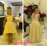 short front long back girls dress - Cheap Special Design Popular Princess Crew Open BackHi Low Short Front Long Back A line Tulle Lace Beaded Flower Girls Dresses