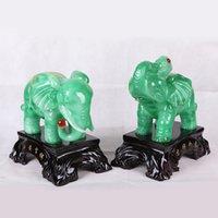 Cheap The new peace and prosperity imitation jade elephant gifts resin imitation jade ornaments, resin elephant one pair